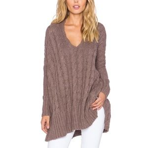 Free People Easy V Cable Knit Sweater Mushroom XS